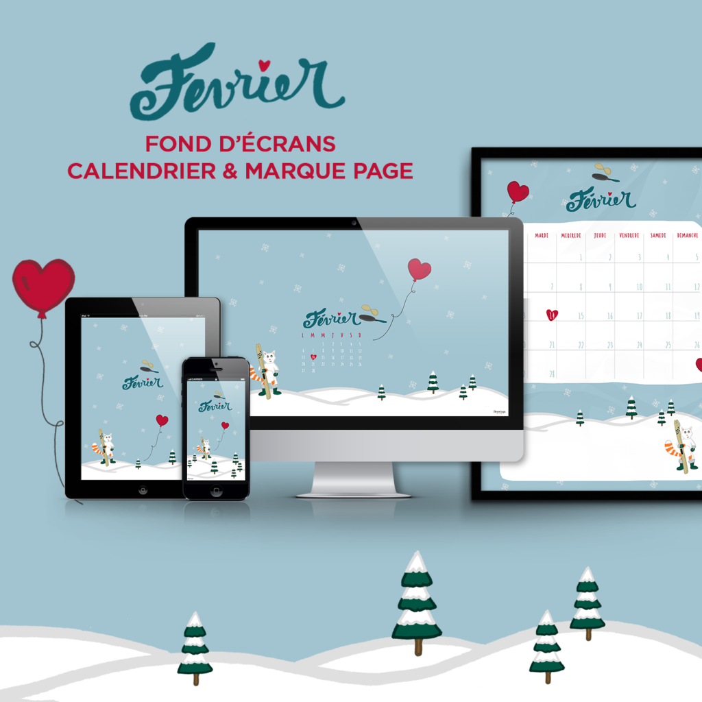 Fond d cran calendrier marque page f vrier free for Fond ecran marque