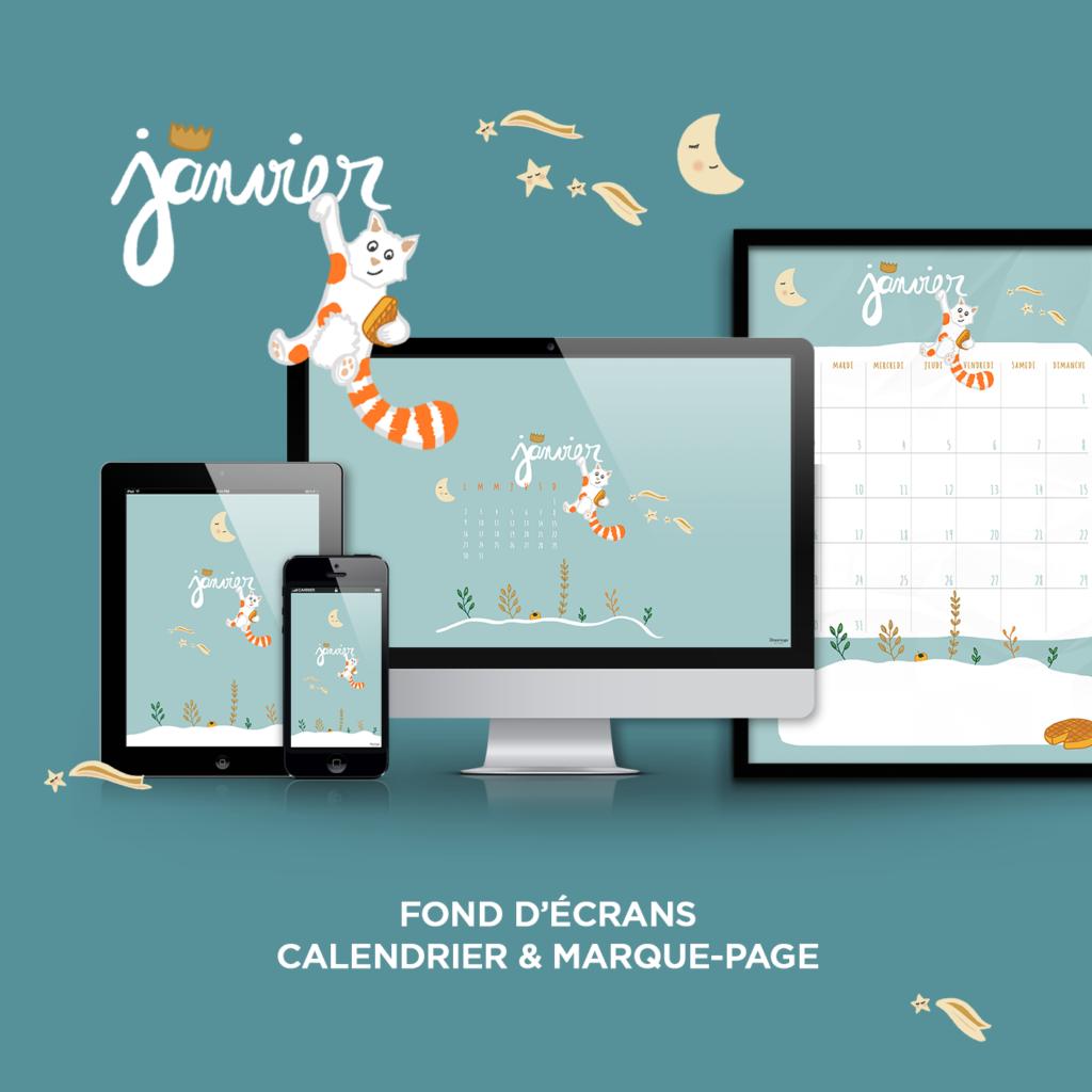 Fond d cran calendrier marque page janvier free for Fond ecran marque