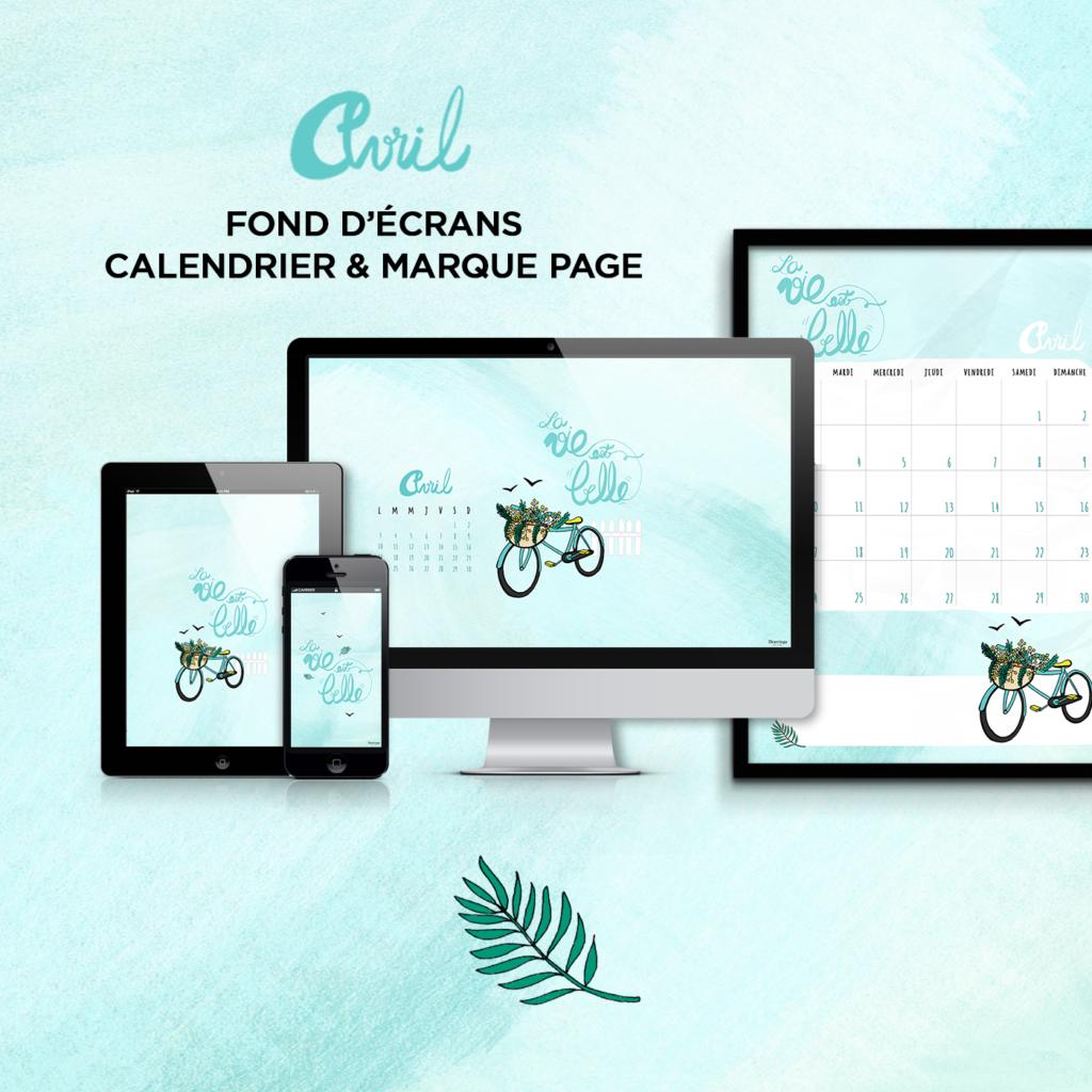 Fond d cran calendrier marque page avril free for Fond ecran marque